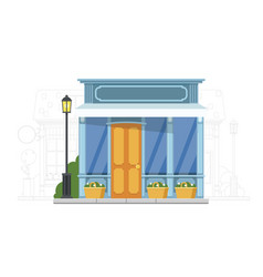 Small shop house on urban cityscape silhouette vector
