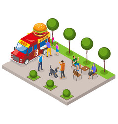 Street food burger isometric composition vector
