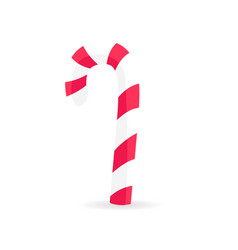 Striped candy stick in red white colors isolated vector