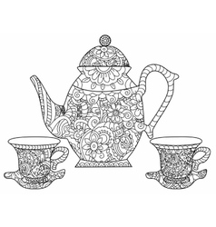 Tea service coloring book for adults vector