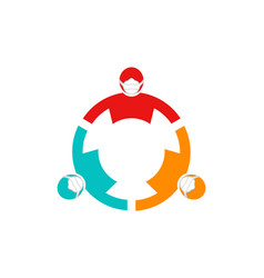 teamwork connection three people wearing face vector image