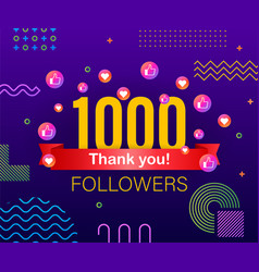 thank you 1000 followers numbers congratulating vector image