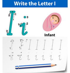 Tracing alphabet template for letter i vector