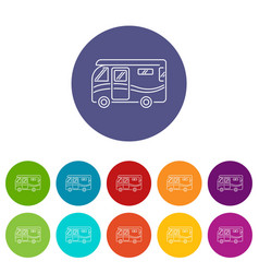 traveling camper van icons set color vector image