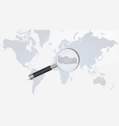 turkey map in magnifying glass vector image
