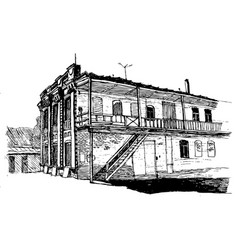 two-story house late 19th century in a vector image