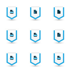 Types icons colored set with text file cad file vector