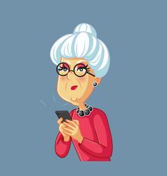 Upset senior woman holding a smartphone cartoon vector