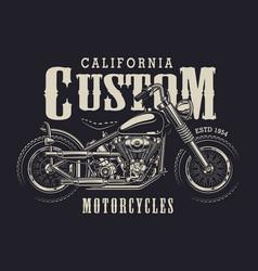 Vintage custom motorbike emblem vector
