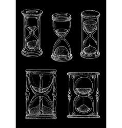 Vintage hourglasses chalk sketches set vector