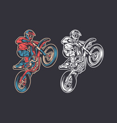 Vintage retro motocross jump color and black white vector