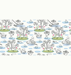 White pattern with line art adventure island vector