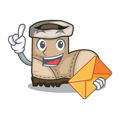 With envelope working boot in shape cartoon vector