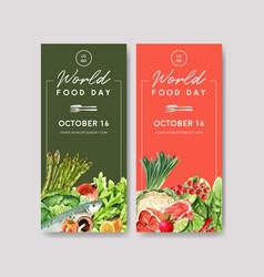 World food day flyer design with cauliflower bell vector