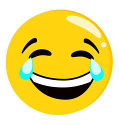 yellow crying laughing face emoji isolated vector image