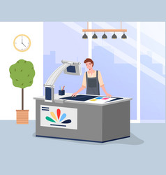 young man working in typography at print vector image