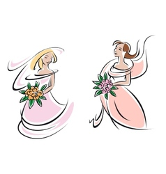 Brides in pink wedding gowns with flowers vector image