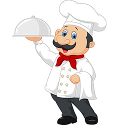 Cartoon happy chef holding a silver platter vector image vector image