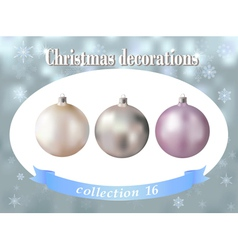Christmas decorations collection of white silver vector