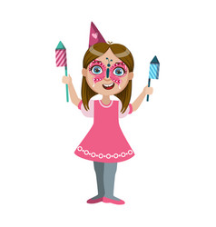 girl in butterfly make up with fireworks part of vector image