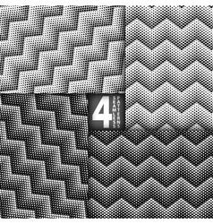 Halftone Dots Herringbone Style Black White vector image