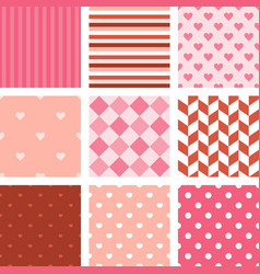 set of pink seamless pattern background vector image vector image