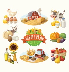 Set of with farm fresh products vector image