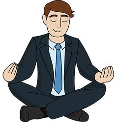 Businessman is meditating vector image vector image