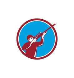 Hunter Shooting Up Rifle Circle Retro vector image vector image
