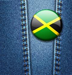 Jamaica Flag Badge On Jeans Denim Texture vector image