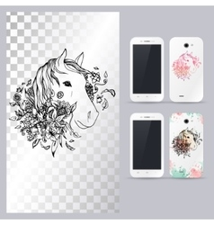 Black and white animal horse head vector image vector image