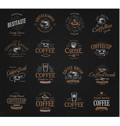 coffee vintage logos set freshly brewed caffeine vector image