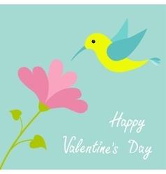 Flying colibri bird and heart flower Cute cartoon vector image vector image