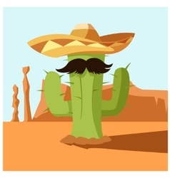 Mexican cactus in the desert vector image