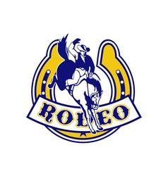 Rodeo cowboy bucking bronco horseshoe vector