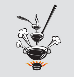 spoon soup ladle and dish vector image