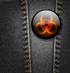 Biohazard badge on black denim texture vector image vector image