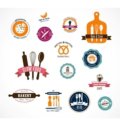 Collection of vintage bakery and cafe labels vector image