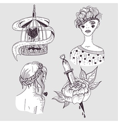 Cute tattoo set vector image vector image