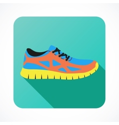 Shoes flat icon with bright colorful running vector image vector image