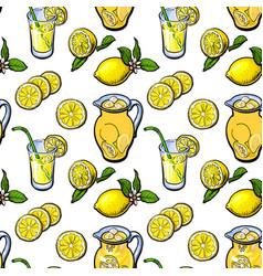 sketch style seamless pattern of lemon lemonade vector image