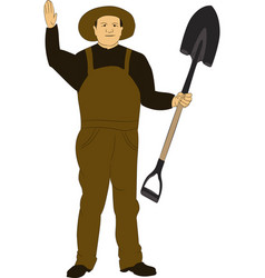 the man in overalls with a shovel vector image