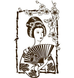 Traditional Japanese Geisha with fan stencil vector image
