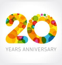 20 years anniversary circle colorful logo vector