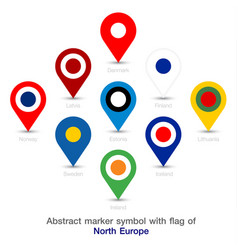 Abstract marker symbol with flag of north europe vector
