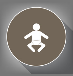 baby sign white icon on vector image