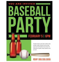 Baseball Party Template vector image