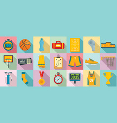 basketball equipment icons set flat style vector image