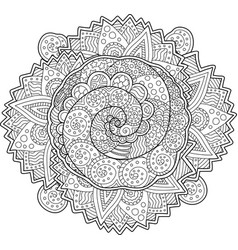 beautiful adult coloring book page with spirals vector image