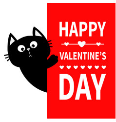 Black cat holding big signboard cute cartoon vector